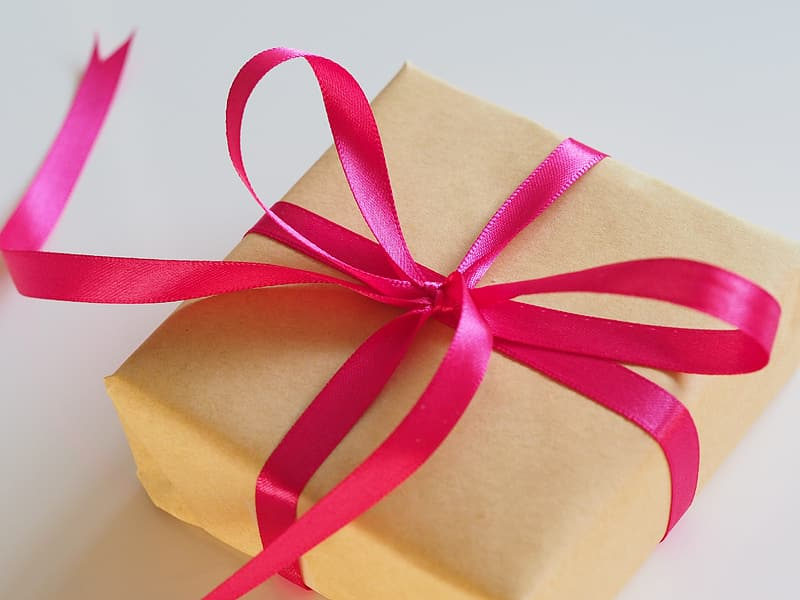 Gift Wrapped Box With Pink Ribbon
